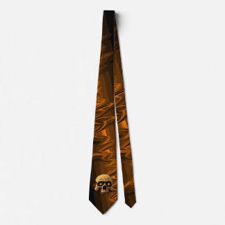 Cravate Noir orange de crâne de lueur