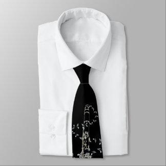 Cravate noire de notes de musique de clarinette et