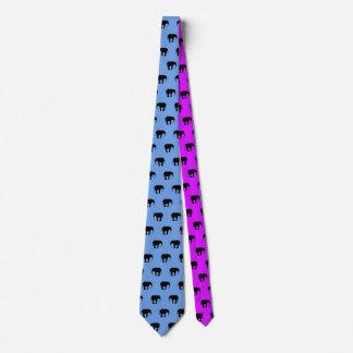 Cravate noire d'éléphants