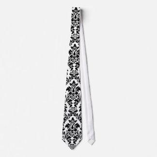 Cravate noire et blanche de damassé