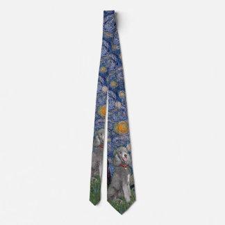 Cravate Nuit étoilée avec un caniche #1 d'étalon argent