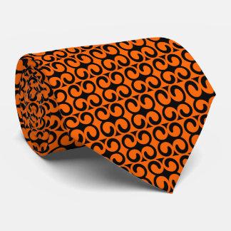 Cravate Orange et motif de noir