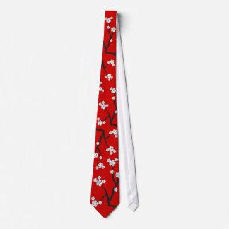 Cravate orientale blanche asiatique de fleurs de