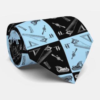Cravate Outils de menuiserie dans des tuiles bleues et