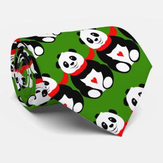 Cravate Pandas géants mignons avec des casquettes de