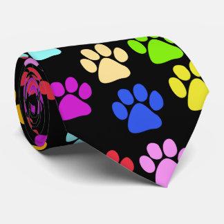 Cravate Pattes de chien, traînées, empreintes de pattes -