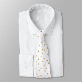 Cravate Points modernes élégants de confettis d'or blanc
