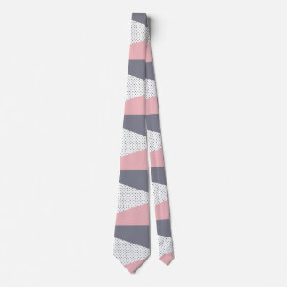 Cravate Pois géométrique pourpre élégant de rose en pastel