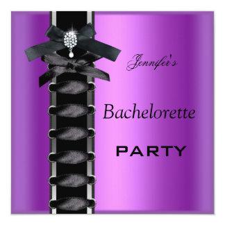Cravate pourpre de corset de diamant de noir de carton d'invitation  13,33 cm