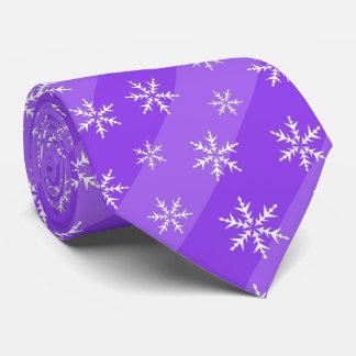 Cravate pourpre de Noël de rayures de flocons de