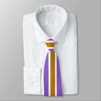 Cravate Rayure blanche d'or sur l'ultraviolet ou (votre