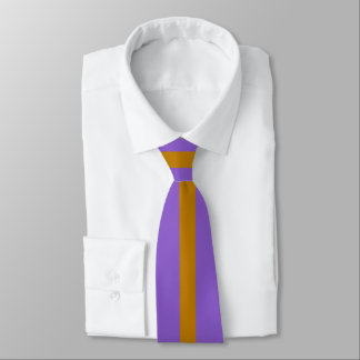 Cravate Rayure d'or sur l'ultraviolet ou (votre couleur)