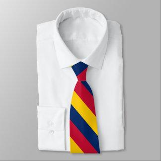 Cravate Rayure jaune et rouge bleue d'université