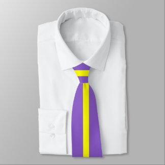 Cravate Rayure jaune sur l'ultraviolet ou (votre couleur)