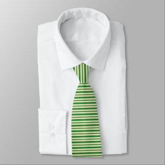 Cravate Rayures vert-foncé et beiges épaisses et minces