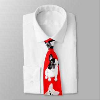 Cravate Rouge de Noël de Français de bouledogues français