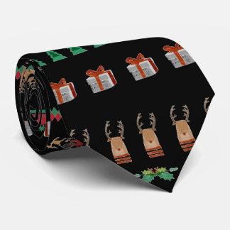Cravate Rouge de vert de renne de présents de Père Noël