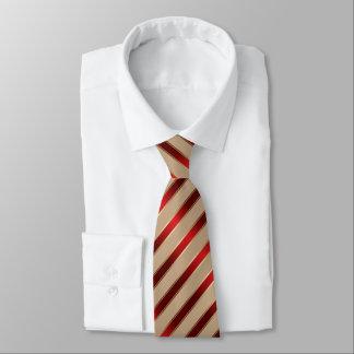 Cravate Rouge et rayures diagonales métalliques d'or