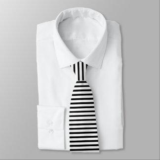 Cravate Smoking horizontal mince noir et blanc de rayure