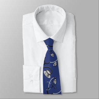 Cravate Stéthoscopes drôles pour des médecins sur le bleu