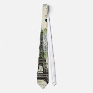 Cravate Tour Eiffel chic de Bohème floral vintage de Paris