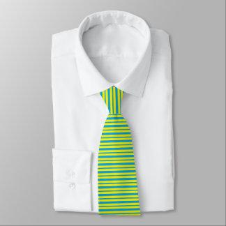 Cravate Turquoise épaisse et mince et rayures jaunes