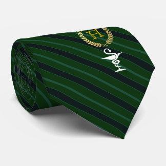 Cravate Vert de monogramme encadré par professionnel de