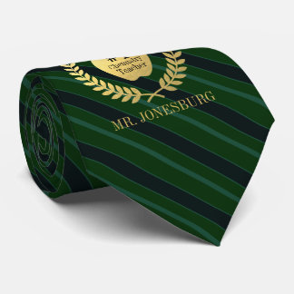 Cravate Vert fait sur commande d'or de Faux de professeur
