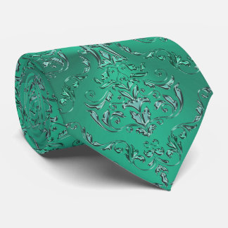 Cravate verte métallique de damassé de Poissons de