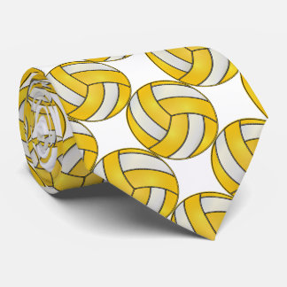 Cravate Volleyball jaune et blanc sportif