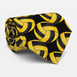 Cravate Volleyball jaune et noir sportif