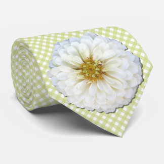 Cravate - Zinnia blanc sur le trellis