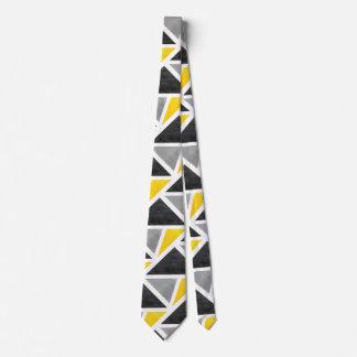 Cravates Abrégé sur jaune blanc gris géométrique