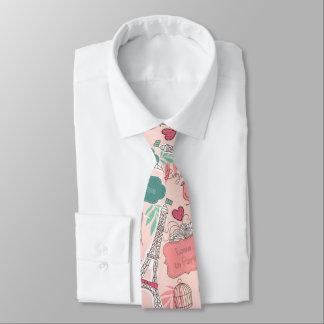 Cravates Amour dans le rose de motif de Paris