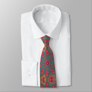 Cravates Beau motif orange turquoise rose de zen