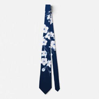 Cravates Blanc bleu de fleurs de cerisier florales