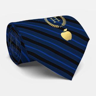 Cravates Bleu de enseignement de monogramme encadré par