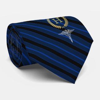 Cravates Bleu de monogramme encadré par professionnel