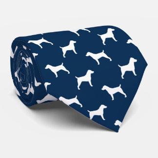 Cravates Bleu de motif de silhouettes de Jack Russell