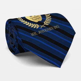 Cravates Bleu fait sur commande d'or de Faux de professeur