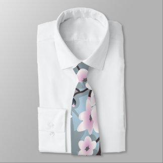 Cravates Bleu rose sombre miroitant des fleurs de cerisier