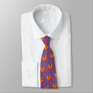 Cravates Chat de sourire de citrouille de Halloween