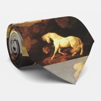 Cravates Cheval blanc effrayé par un lion