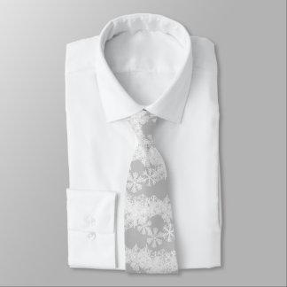 Cravates Cravate-Noël des hommes Flocon de neige-Gris