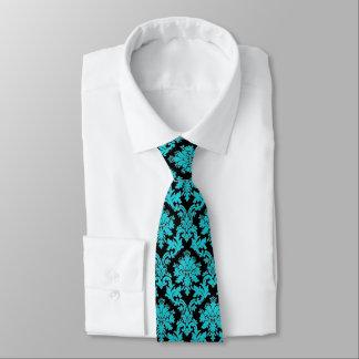 Cravates Damassé florale noire et turquoise de bleu de
