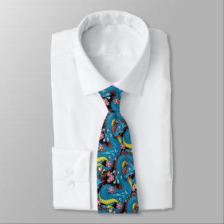 Cravates Dragon bleu avec des fleurs de cerisier