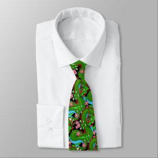 Cravates Dragon vert avec des fleurs de cerisier