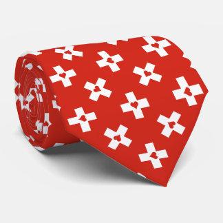 Cravates Drapeau de la Suisse avec le motif de coeur