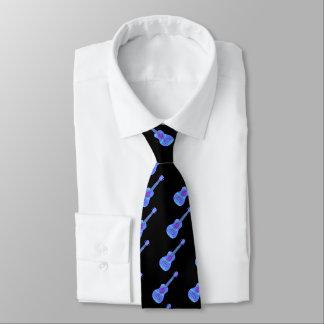 Cravates Éclaboussure bleue de peinture d'ukulélé