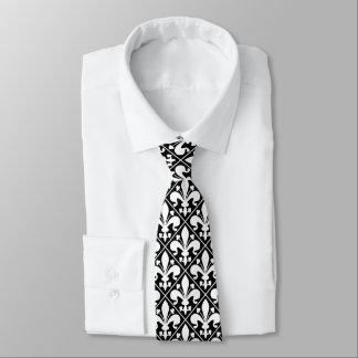 Cravates Élégant noir et blanc de Fleur de Lys